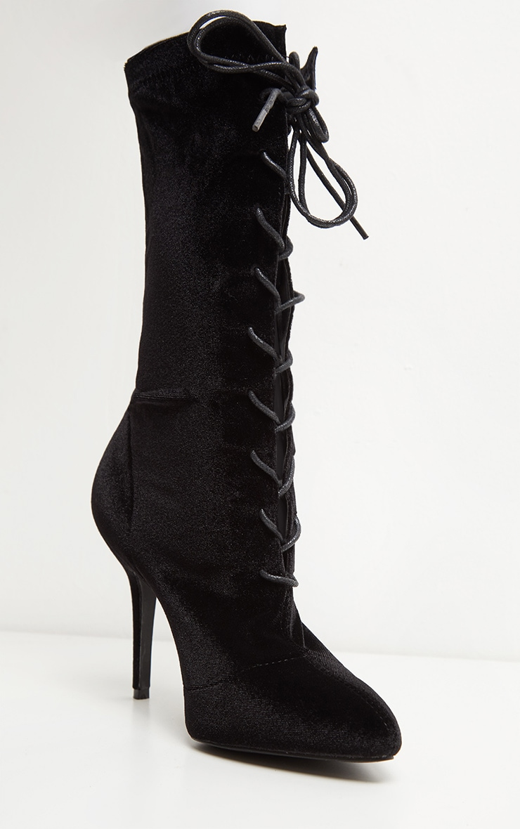 Black Velvet Mid Heel Lace Up Ankle Boot 3