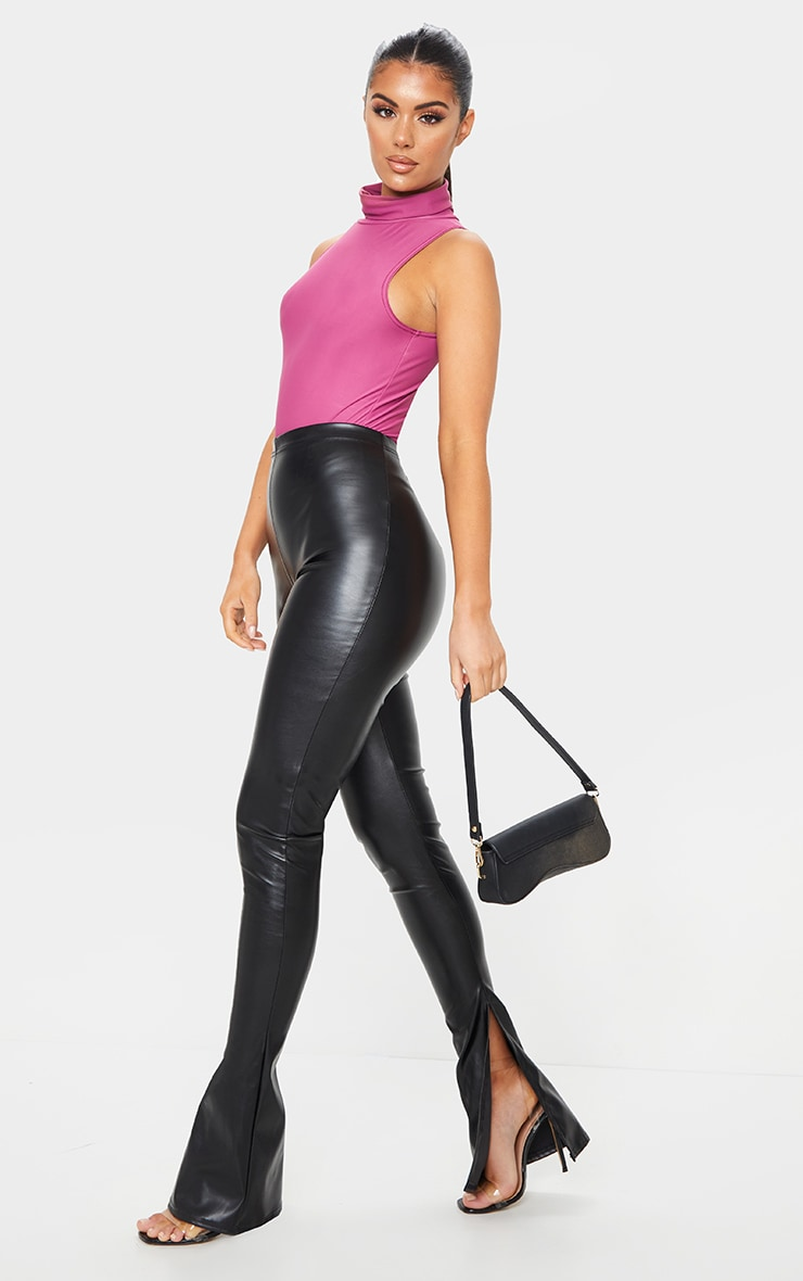 Black Kick Flare Faux Leather Leggings 1