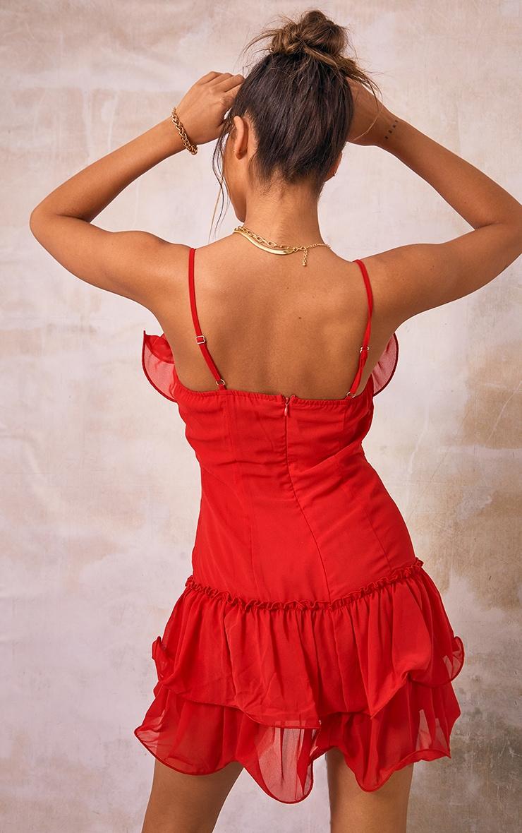 Red Chiffon Frill Hem Bodycon Dress 2