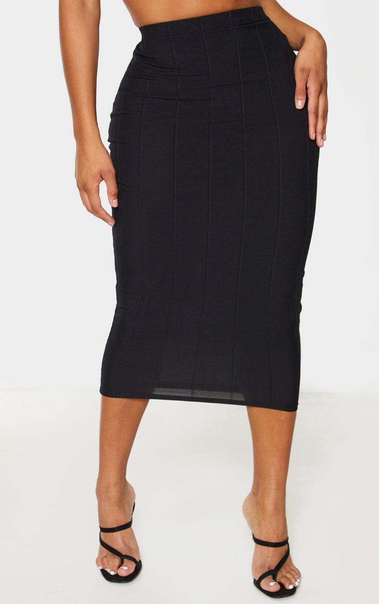 Shape Black Bandage High Waist Midi Skirt 2