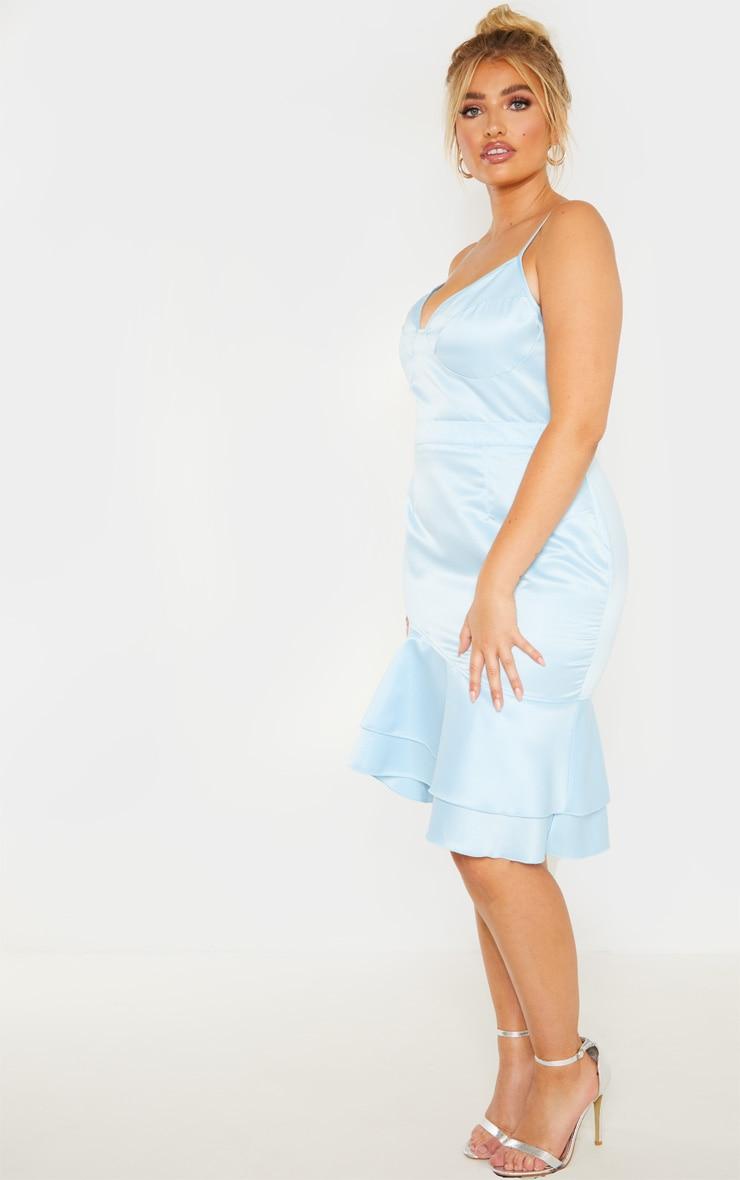 Plus Dusty Blue Strappy Cup Detail Frill Hem Midi Dress  3