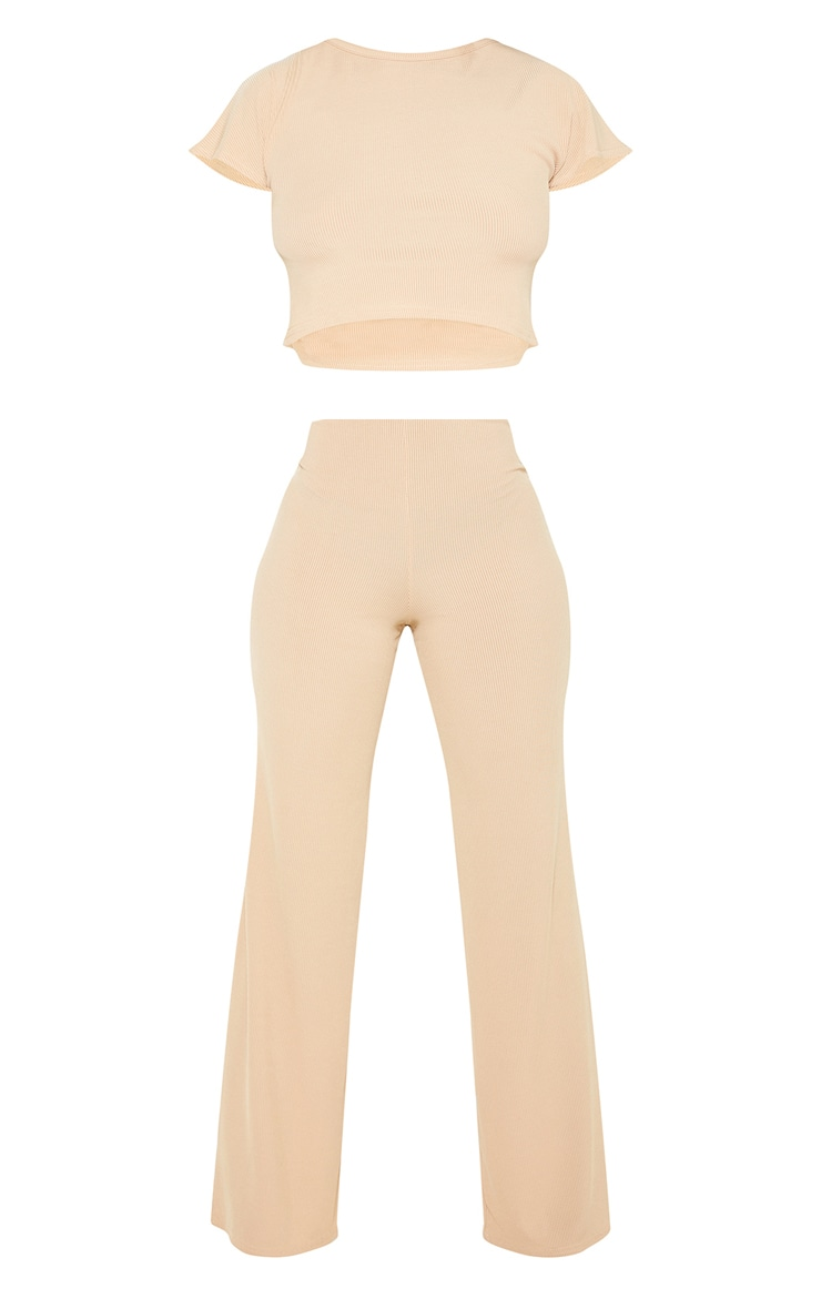 Petite Nude Ribbed Wide Leg Trousers 3