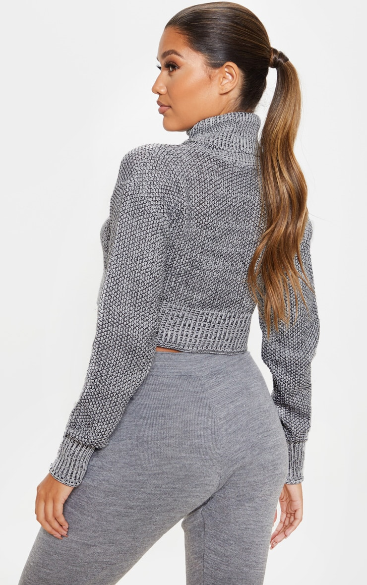 Grey High Neck Mixed Yarn Knitted Sweater  2
