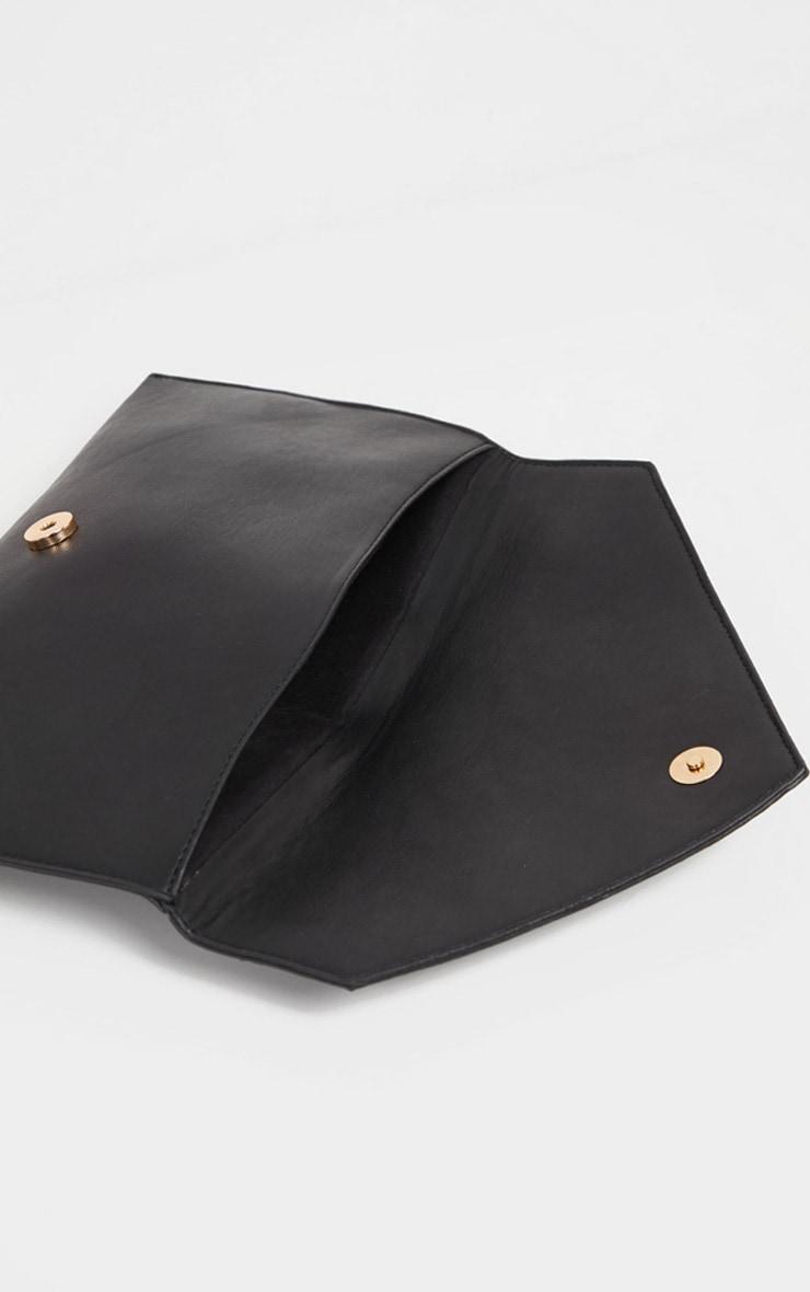 Black Glitter PU Contrast Clutch Bag 4