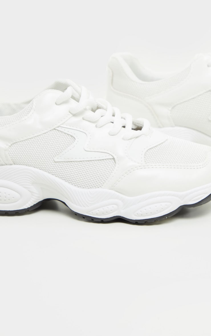 White Basic Bubble Sole Chunky Sneakers 3