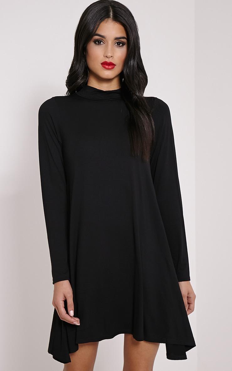 Basic Black Long Sleeved Jersey Swing Dress 1