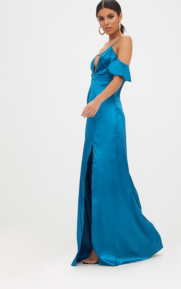 Teal Frill Sleeve Split Detail Satin Maxi Dress 4