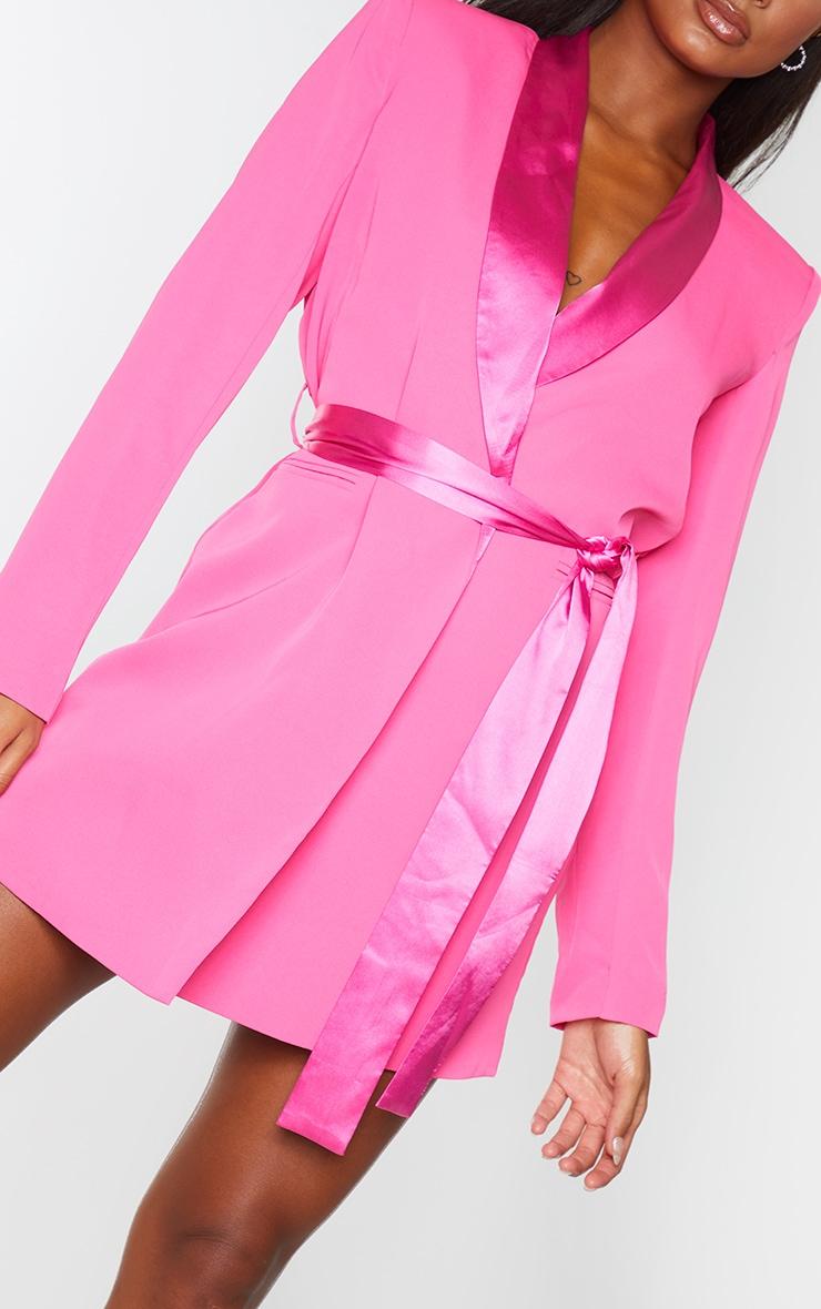 Pink Satin Lepel Tie Waist Blazer Dress 4
