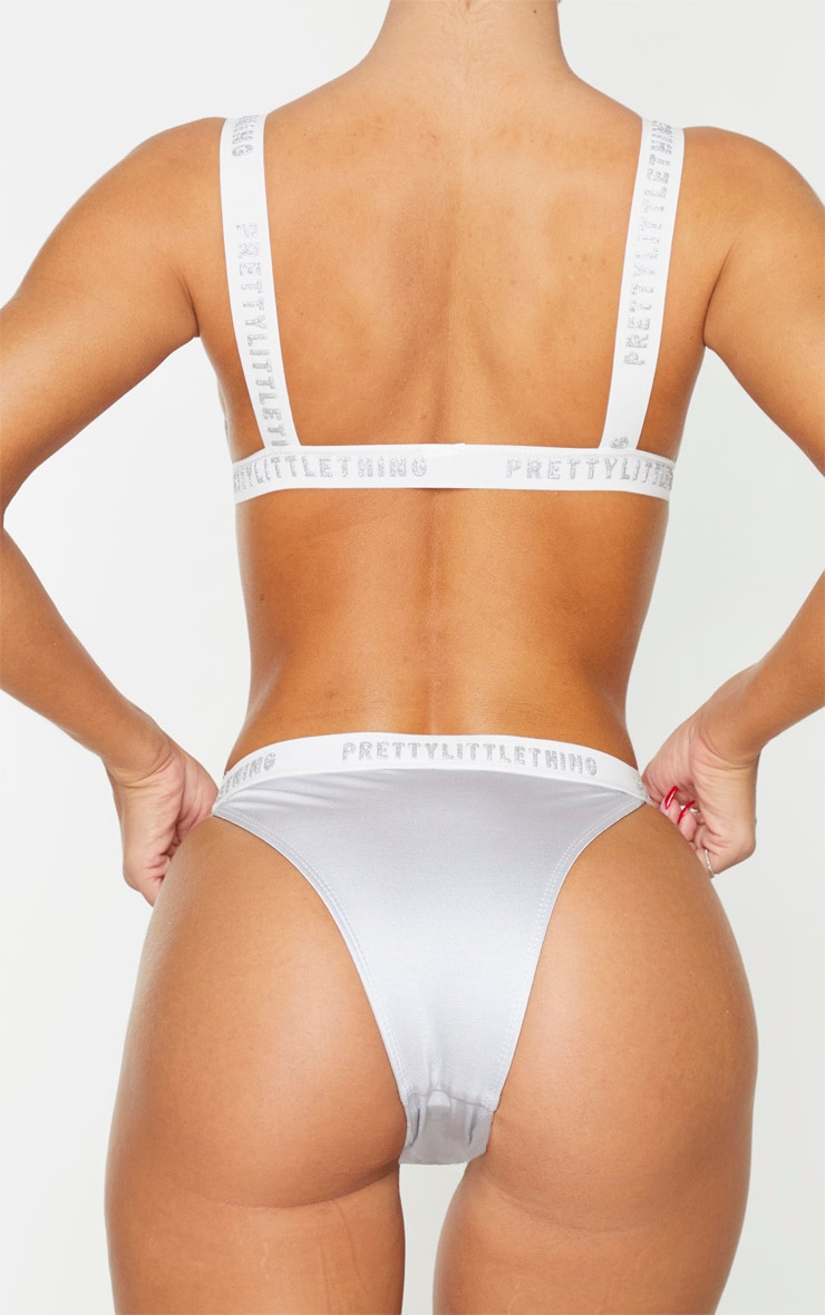 PRETTYLITTLETHING Silver Metallic Elasticated Bikini Bottom 3