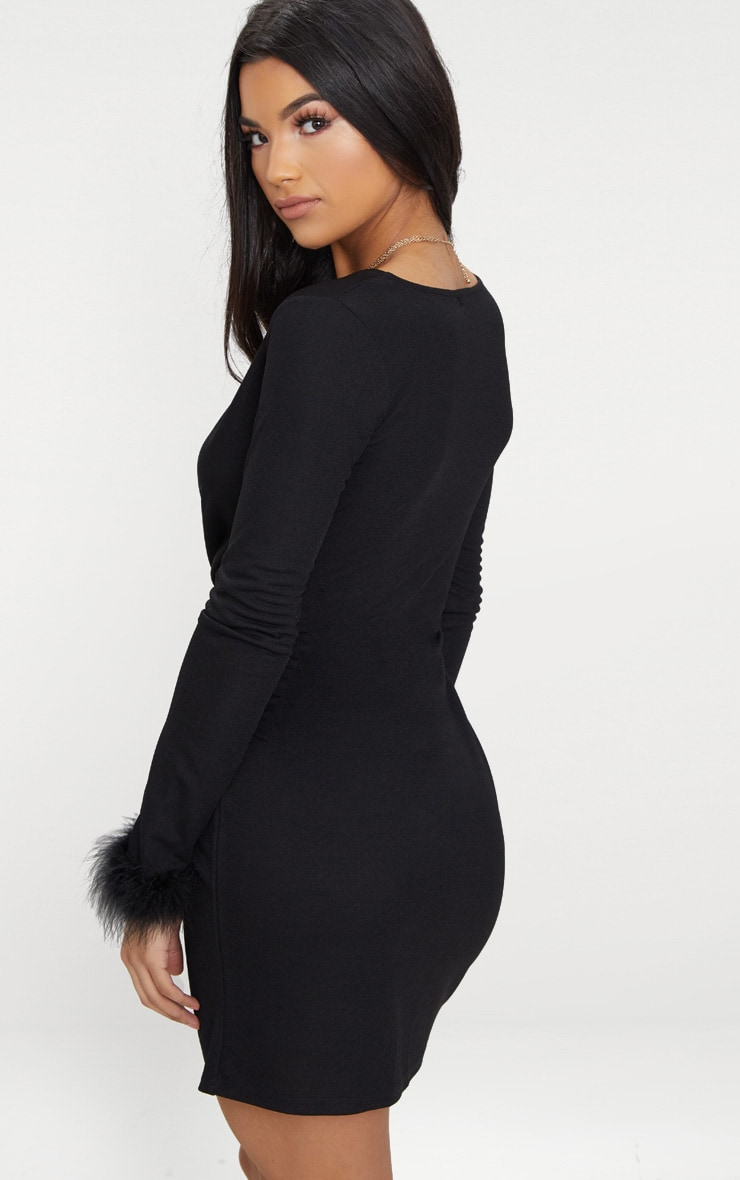 Black Long Sleeve Feather Cuff Wrap Bodycon Dress 2