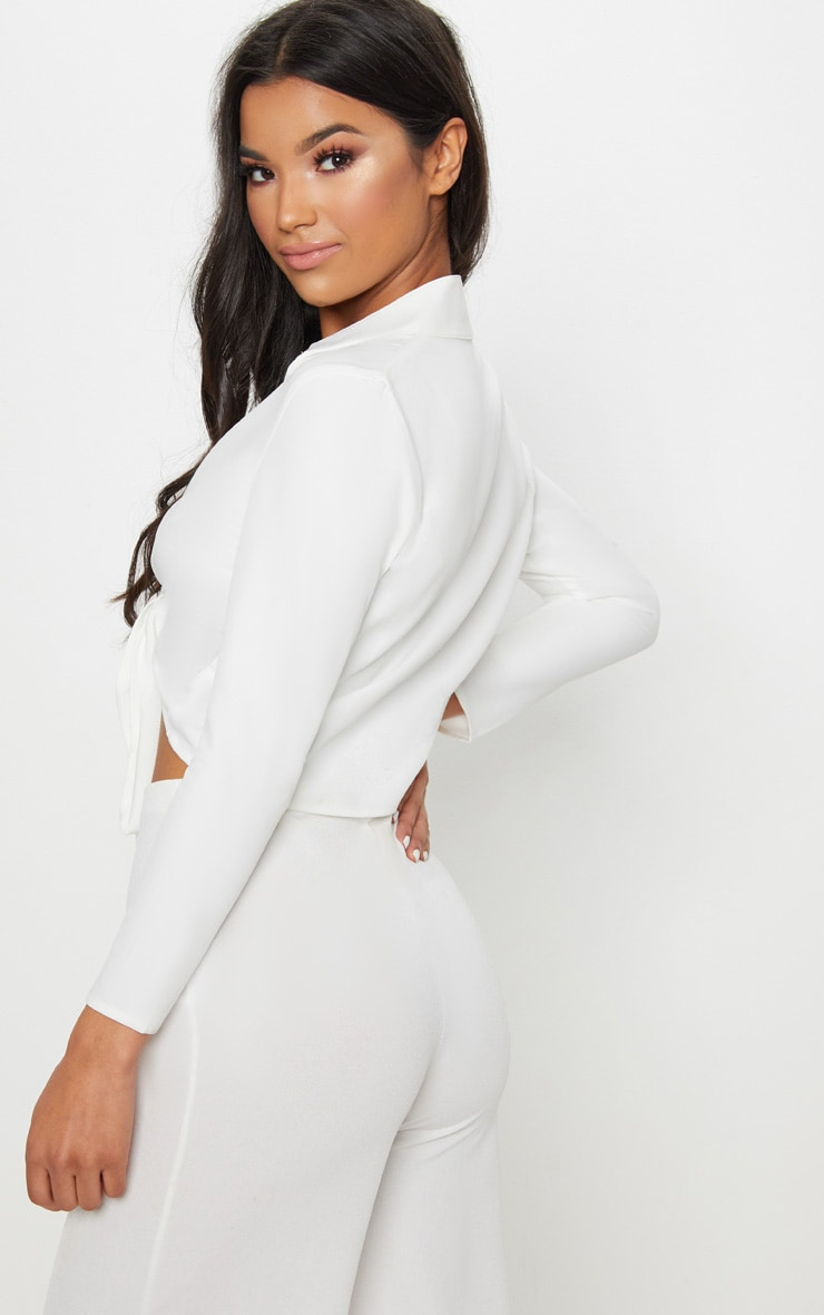 Blanche White Tie Front Long Sleeve Crop Blouse 2