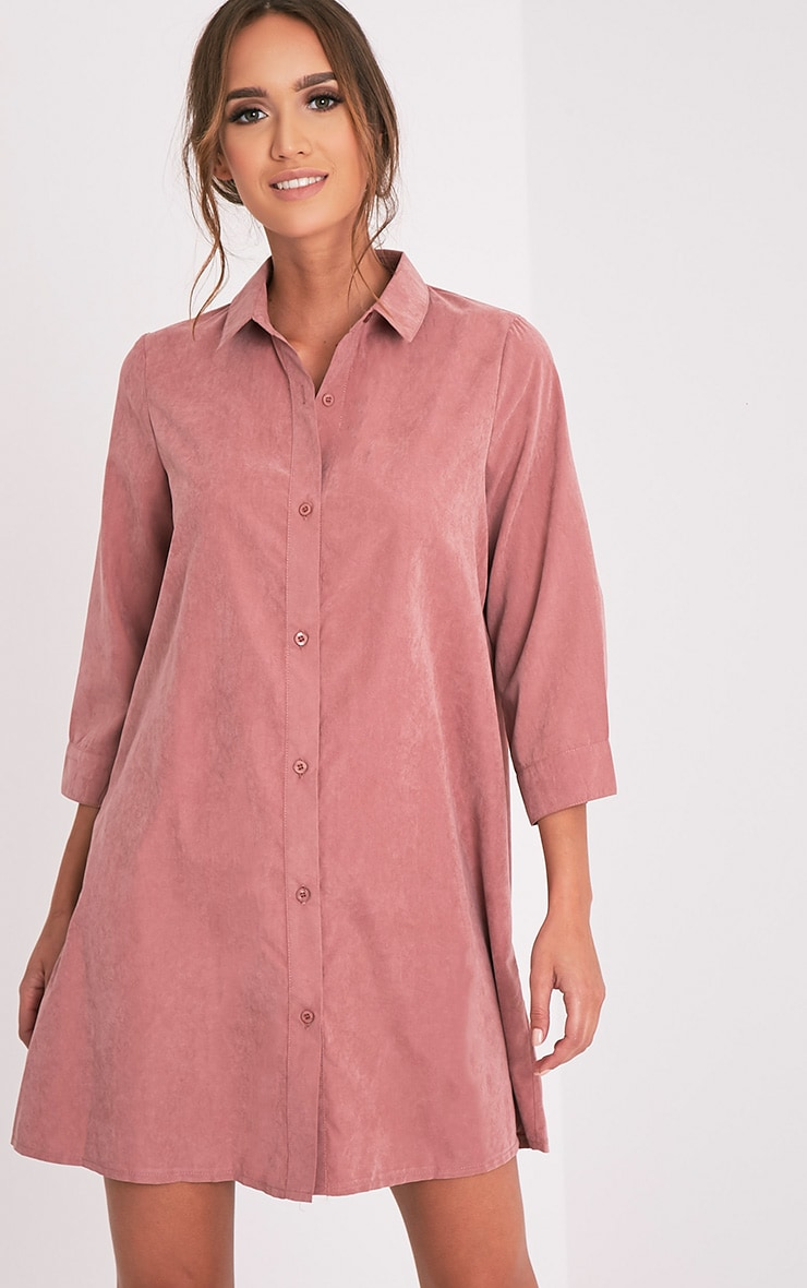 Leni Dusty Pink Shirt Dress 1