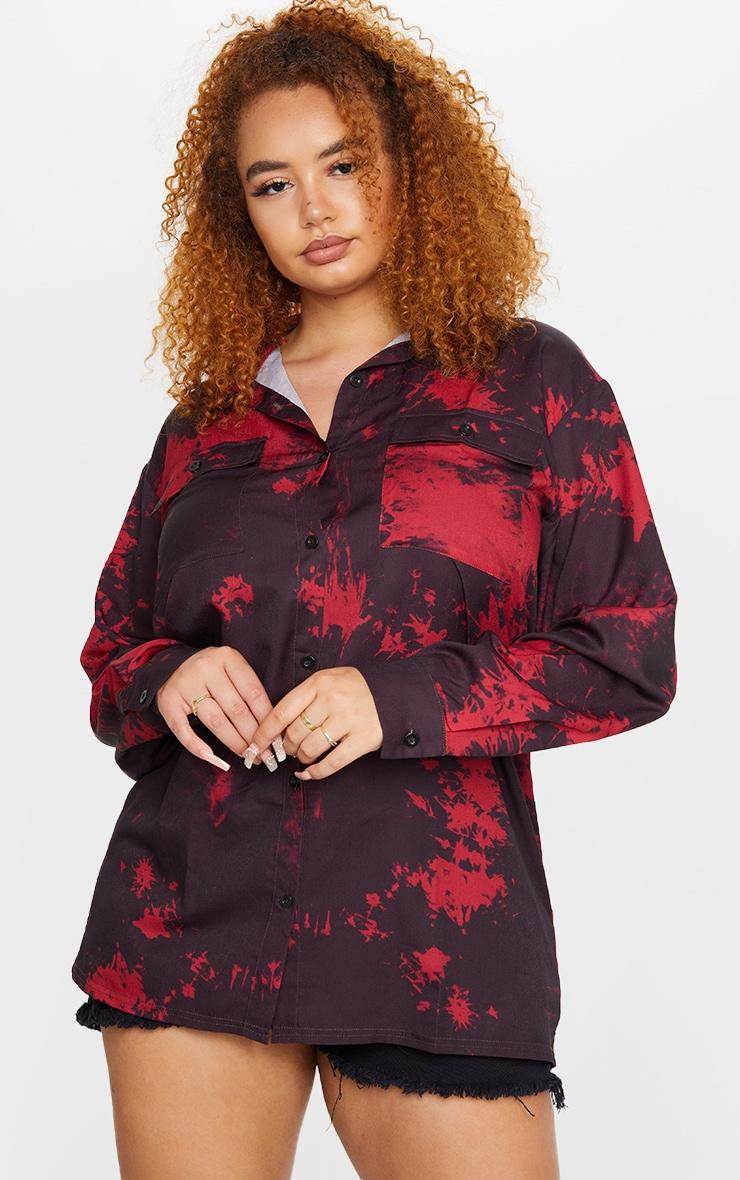 Plus Black Tie Dye Oversized Shirt 1