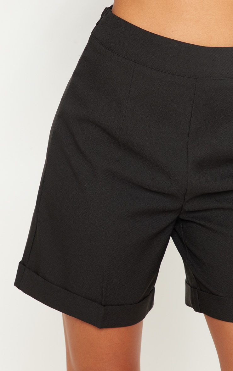 Black Woven High Waisted Shorts 6