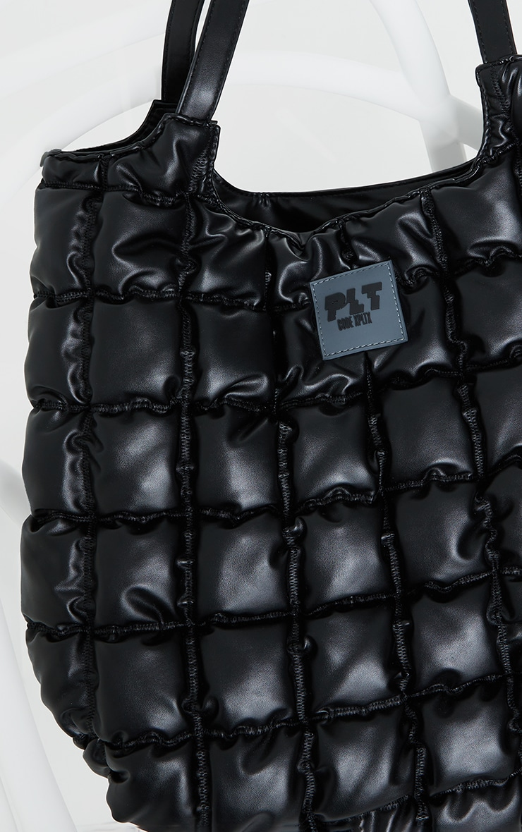 PRETTYLITTLETHING Black Padded Tote Bag 4