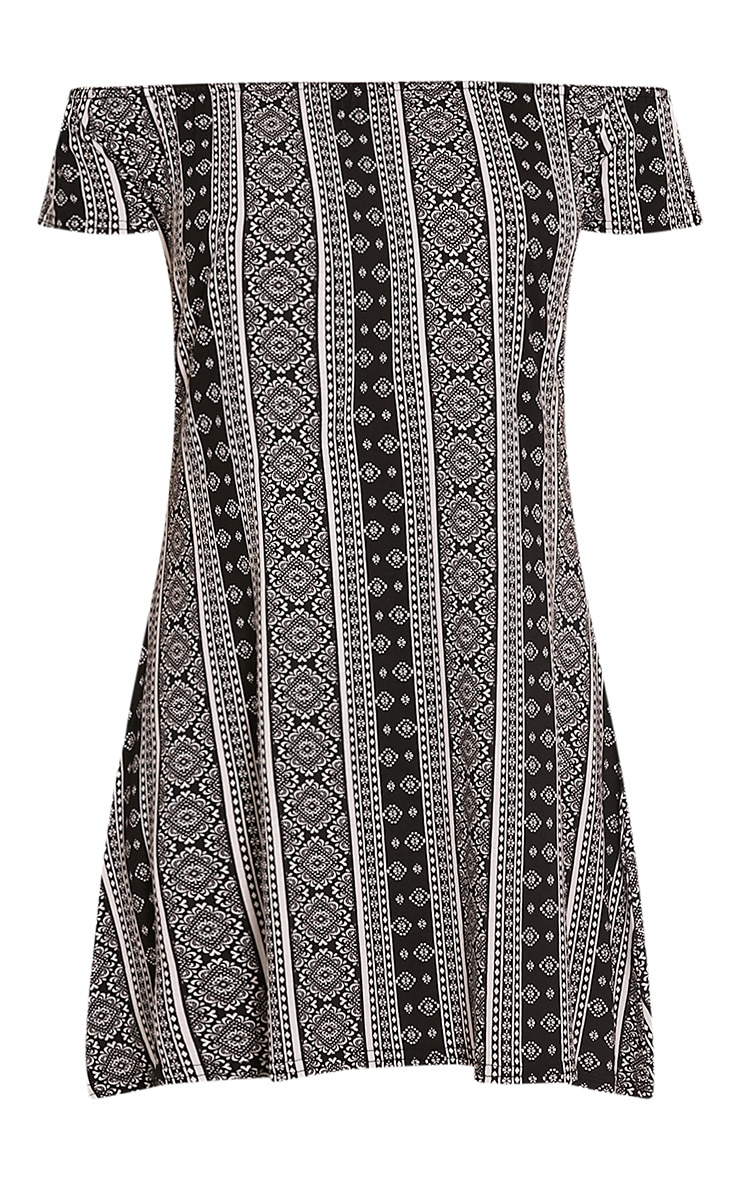 Sadia White Aztec Bardot Mini Dress 3