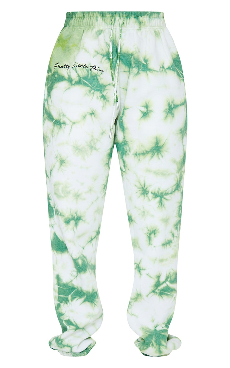 PRETTYLITTLETHING Petite Mint Tie Dye Embroidered Oversized Joggers 5