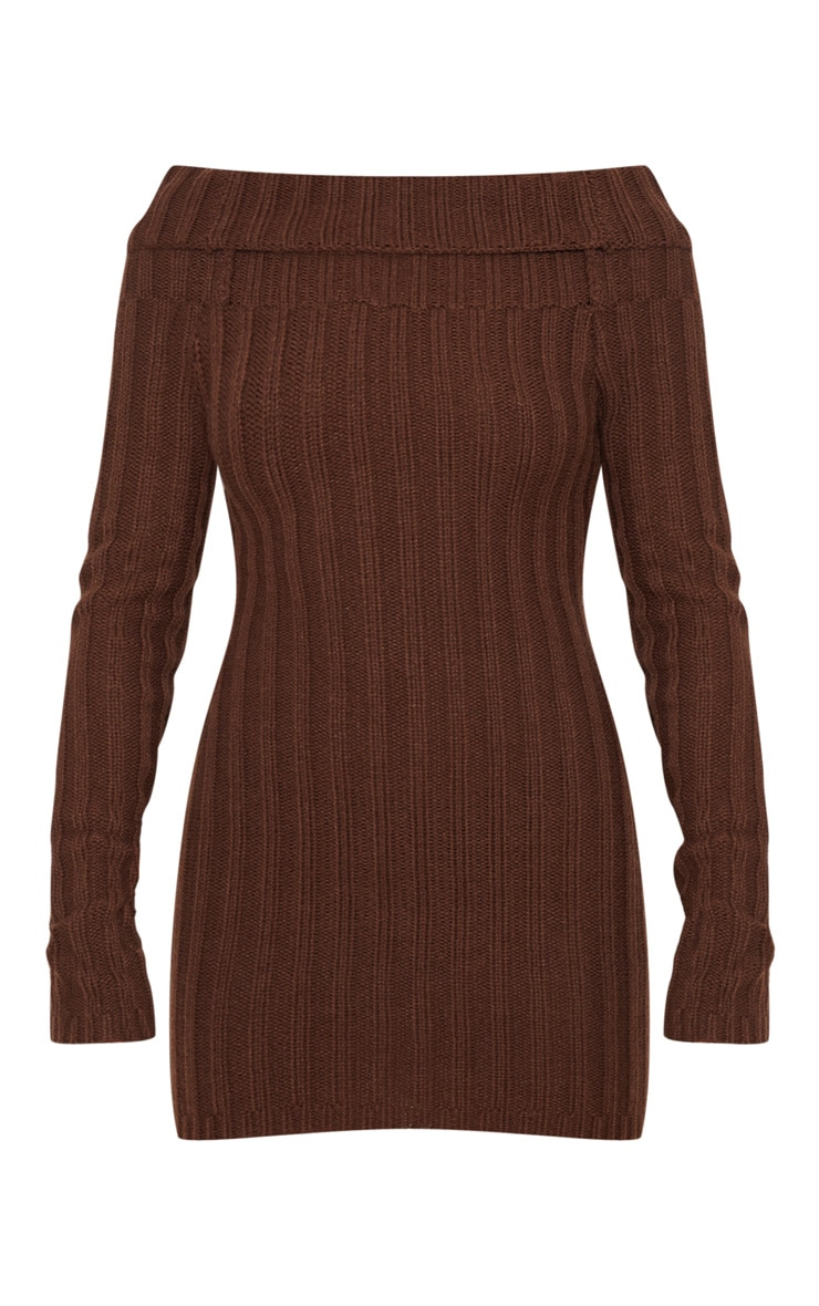 Chocolate Chunky Knitted Bardot Dress  3