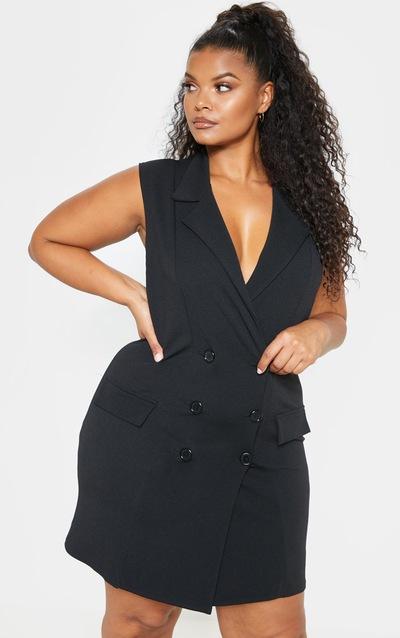 f798440e9c1 PLT Plus - Robe blazer noire sans manches à détail boutons  PrettyLittleThing Sticker