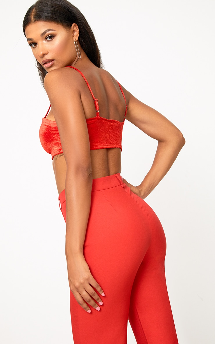 Anala Red Velvet Strappy Crop Top 2