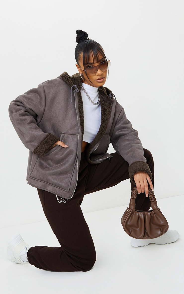 Charcoal Faux Suede Borg Lined Hooded Jacket 3