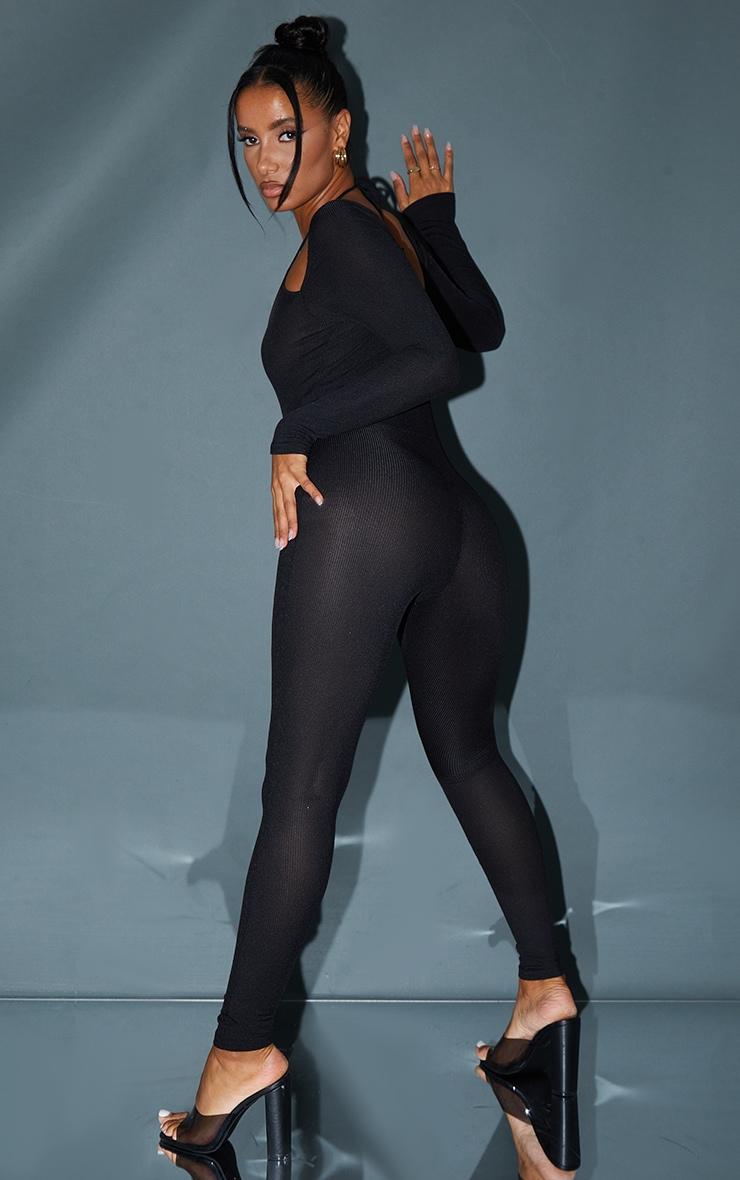 Black Double Strap Rib Scoop Neck Rib Jumpsuit 2