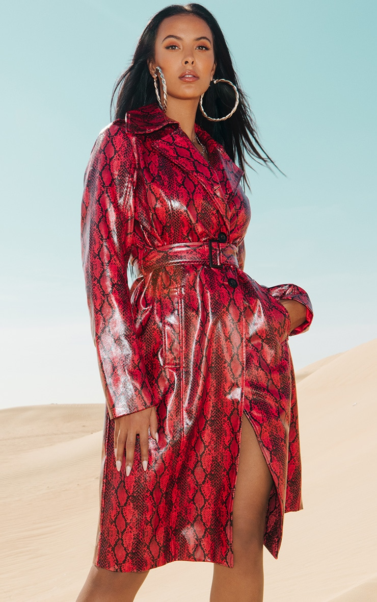 Red Snake Vinyl Trench Coat 1