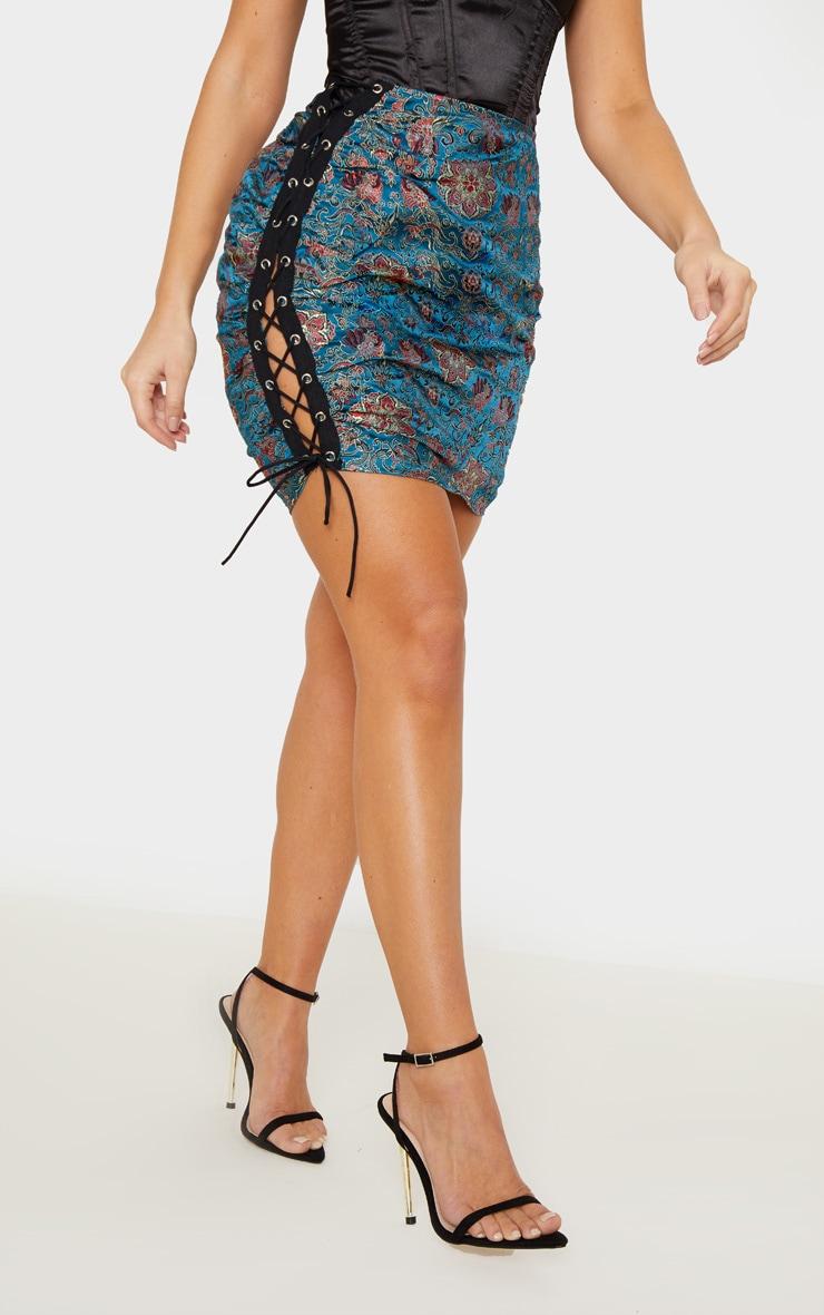 Emerald Green Oriental Print Lace Up Side Mini Skirt 2