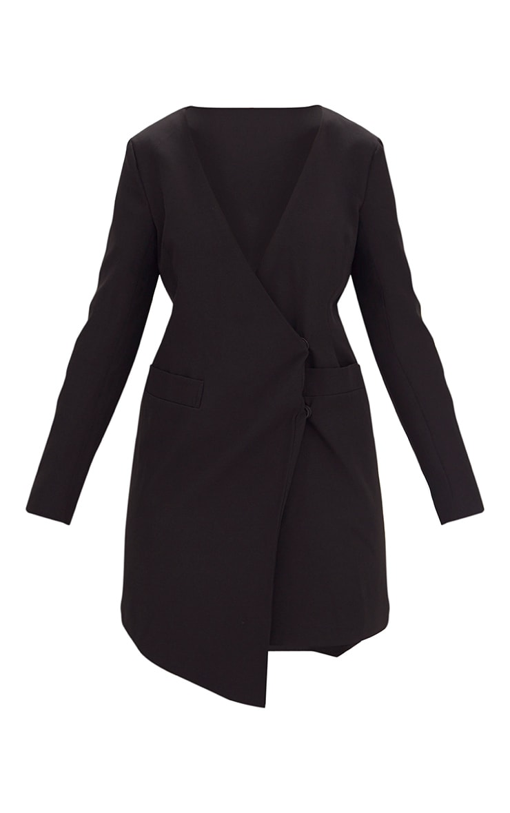 Black Oversized Asymmetric Hem Blazer Dress 3