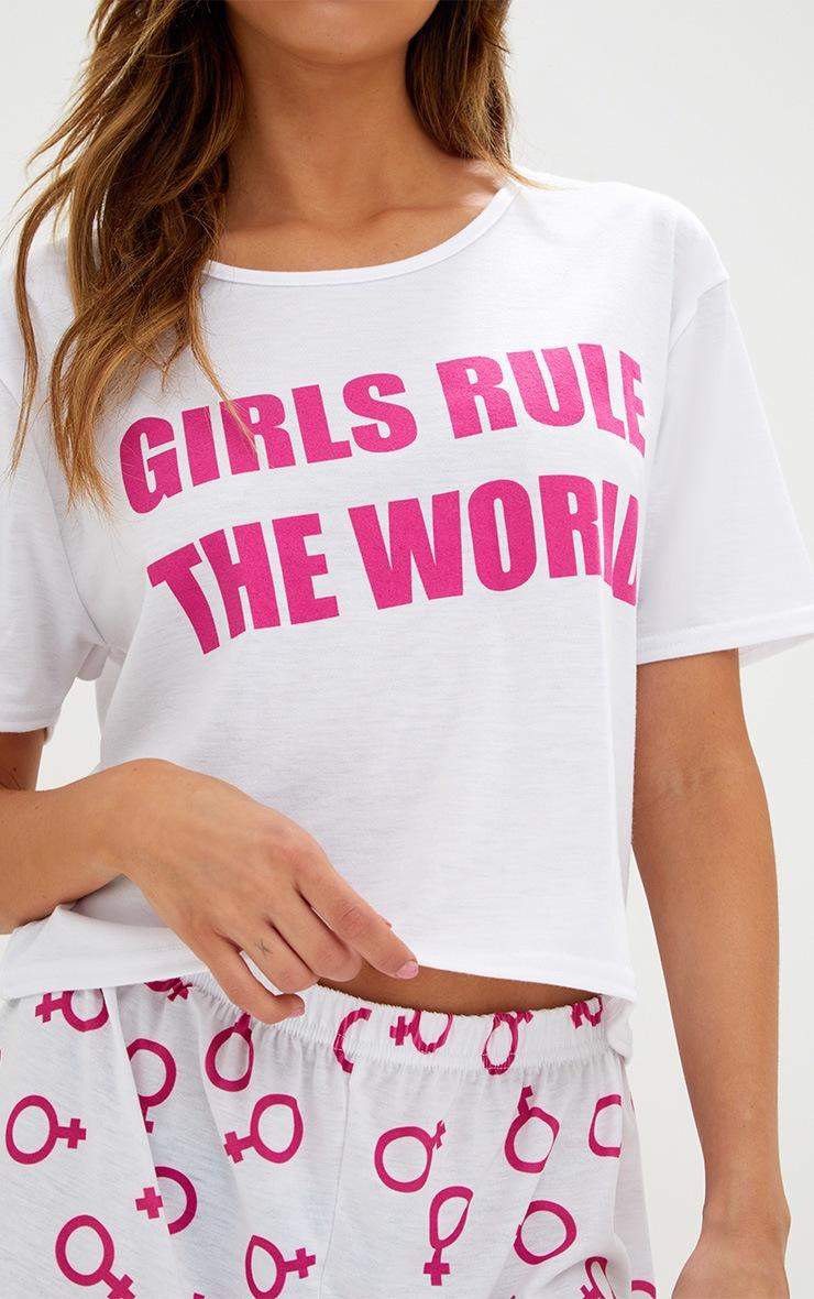 Hot Pink Girls Rule The World PJ Set  5