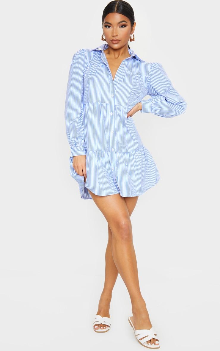 Blue Stripe Long Sleeve Tiered Shirt Dress 3