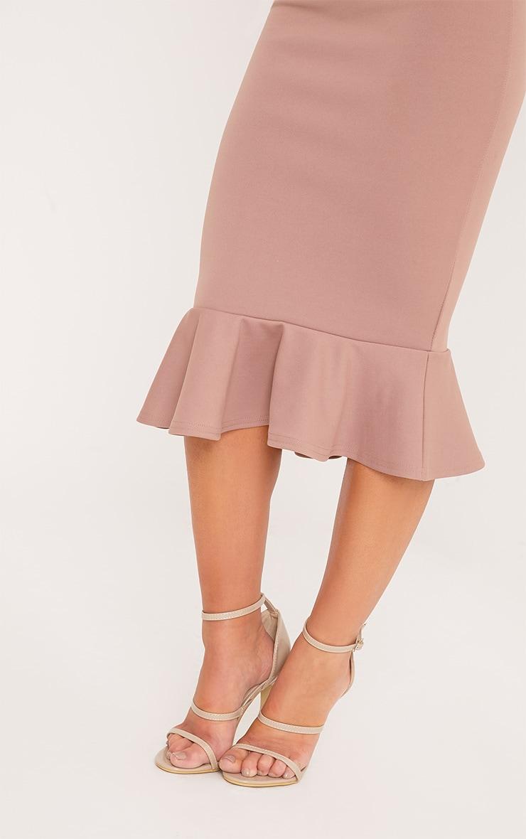 Petite Isabella Truffle Bandeau Frill Hem Midaxi Dress 5