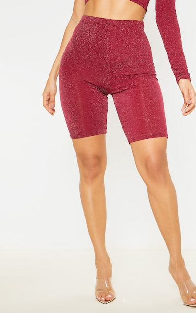 Burgundy Textured Glitter High Waisted Cycle Shorts