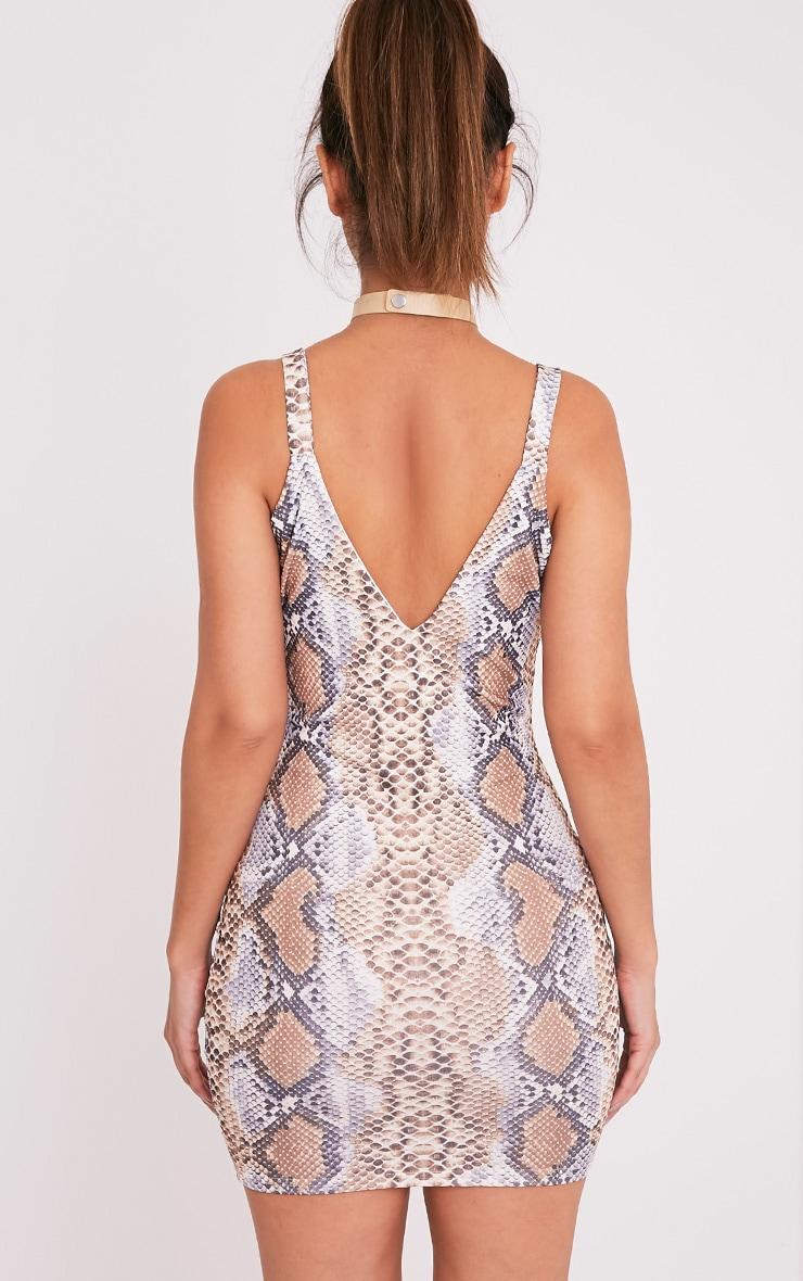 Korel Taupe Snake Print Plunge Bodycon Dress 2