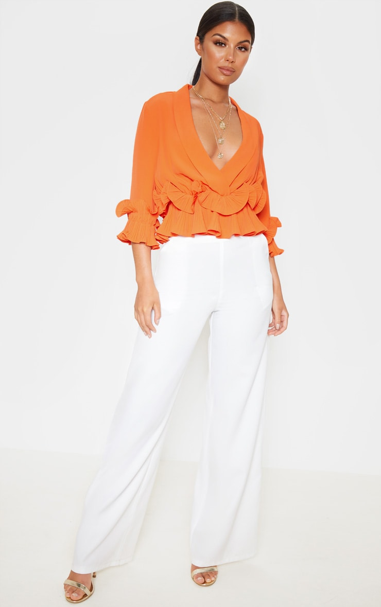 Orange Frill Detail Pleated Blouse 4