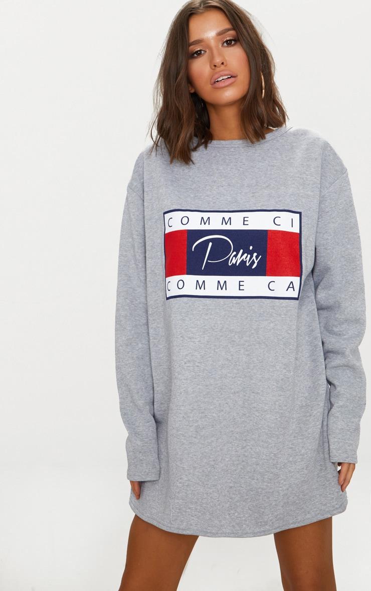 Grey Comme Ci Print Jumper Dress 1