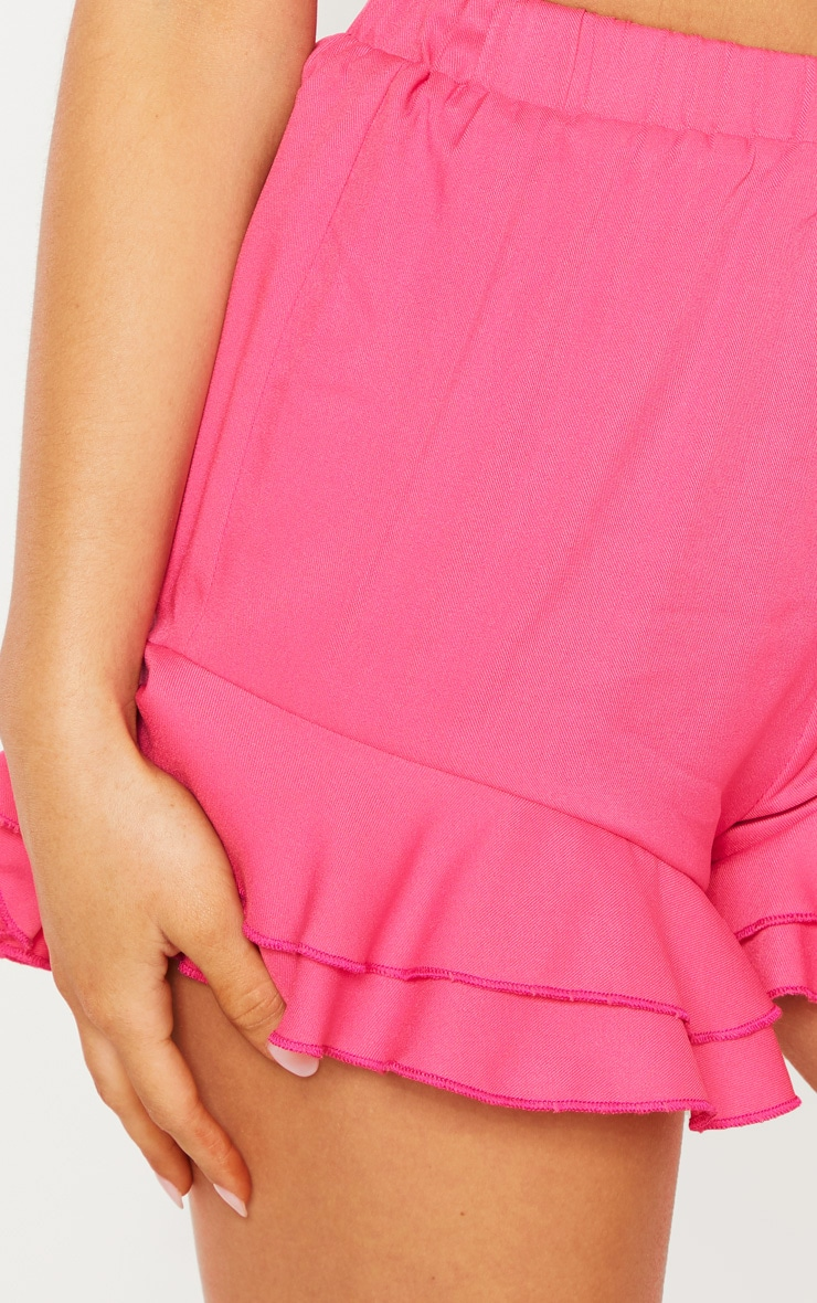 Petite Hot Pink Frill Hem Shorts 5