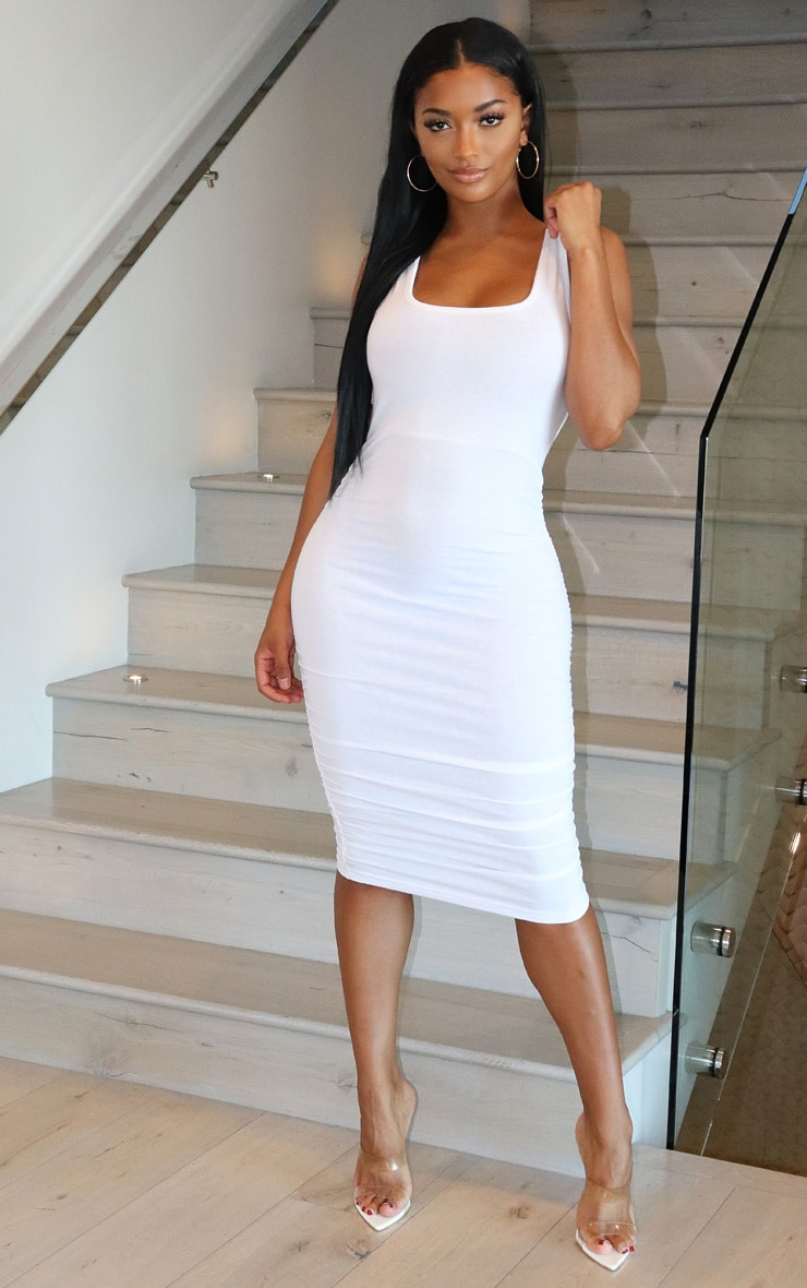 Shape White Cotton Tie Back Ruched Bodycon Dress 3