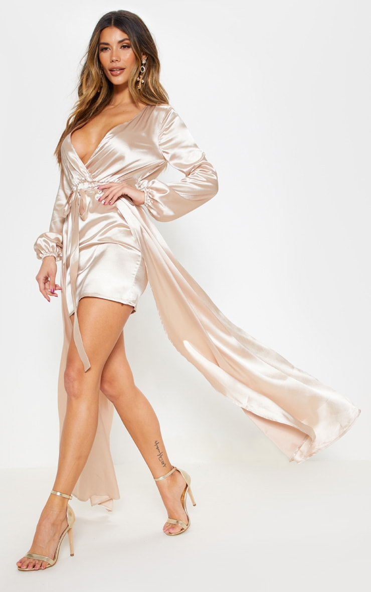 Champagne Satin Plunge 2 in 1 Maxi Dress 4