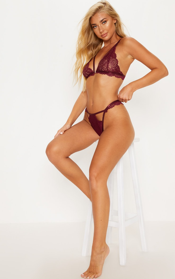 Plum Daisy Lace Cut Out Front Thong 4
