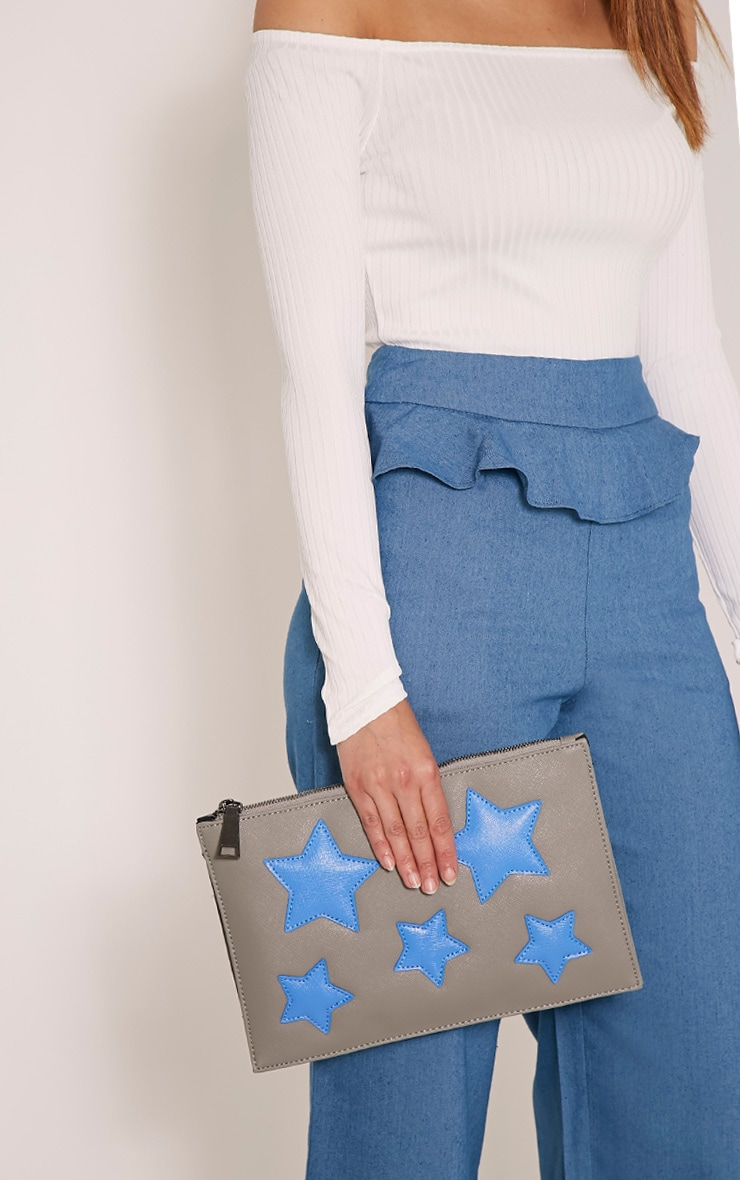 Aimee Grey PU Star Detail Clutch Bag 2