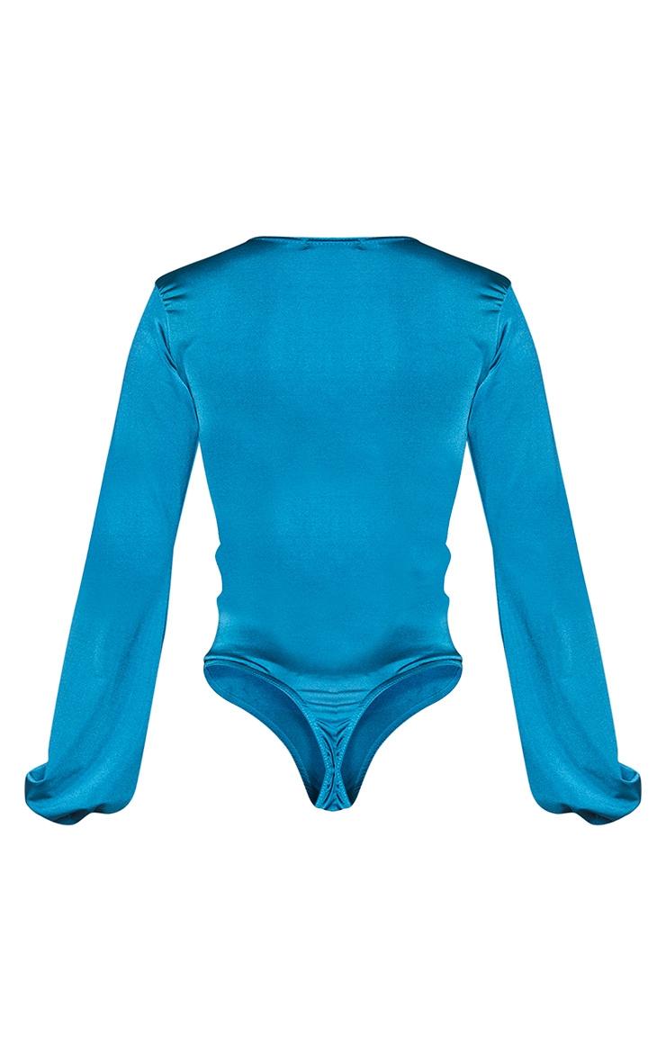 Teal Stretch Satin Draped Plunge Neck Long Sleeve Bodysuit 6