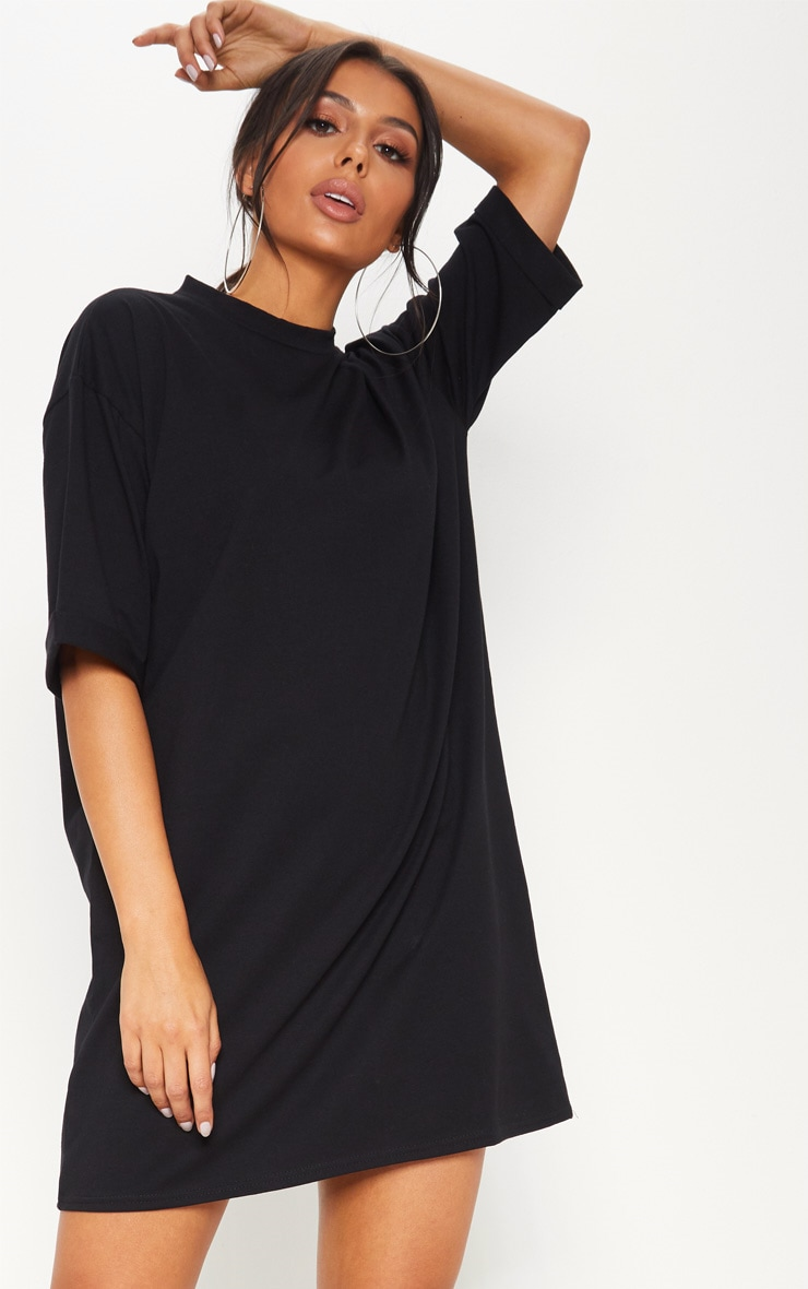 Black Oversized Boyfriend Sleeve T Shirt Dress 4