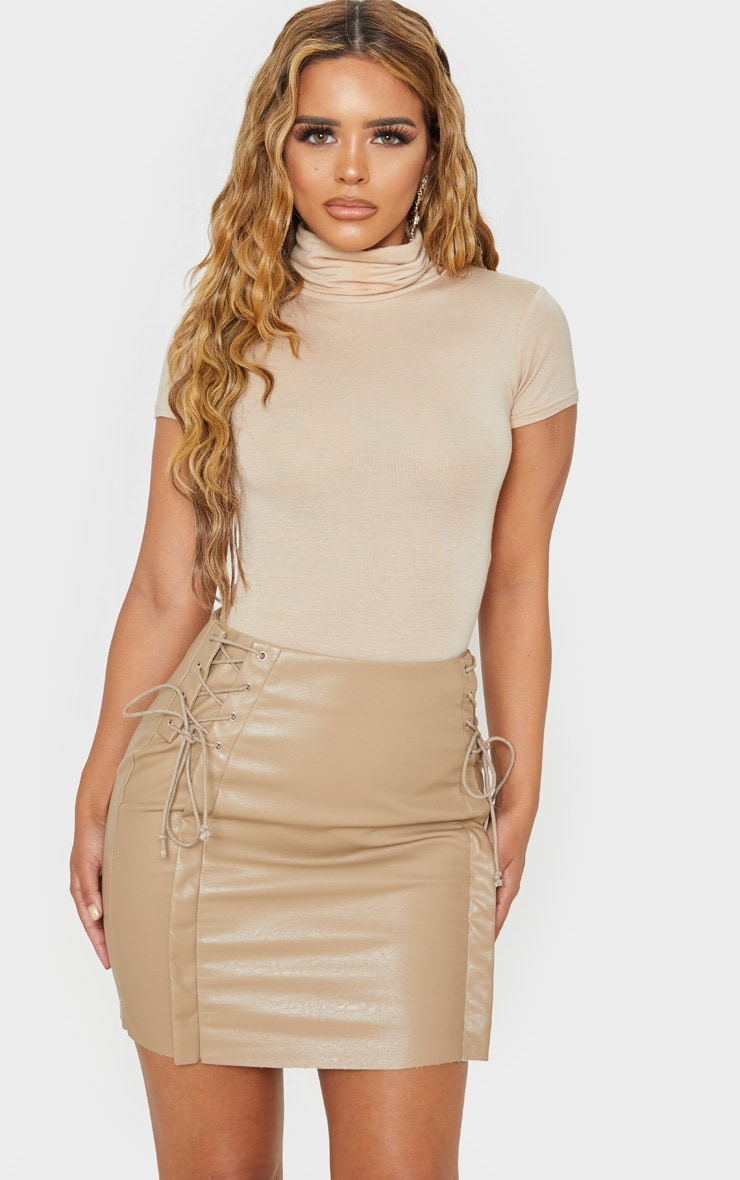 Petite Taupe Lace Up Side PU Mini Skirt 1