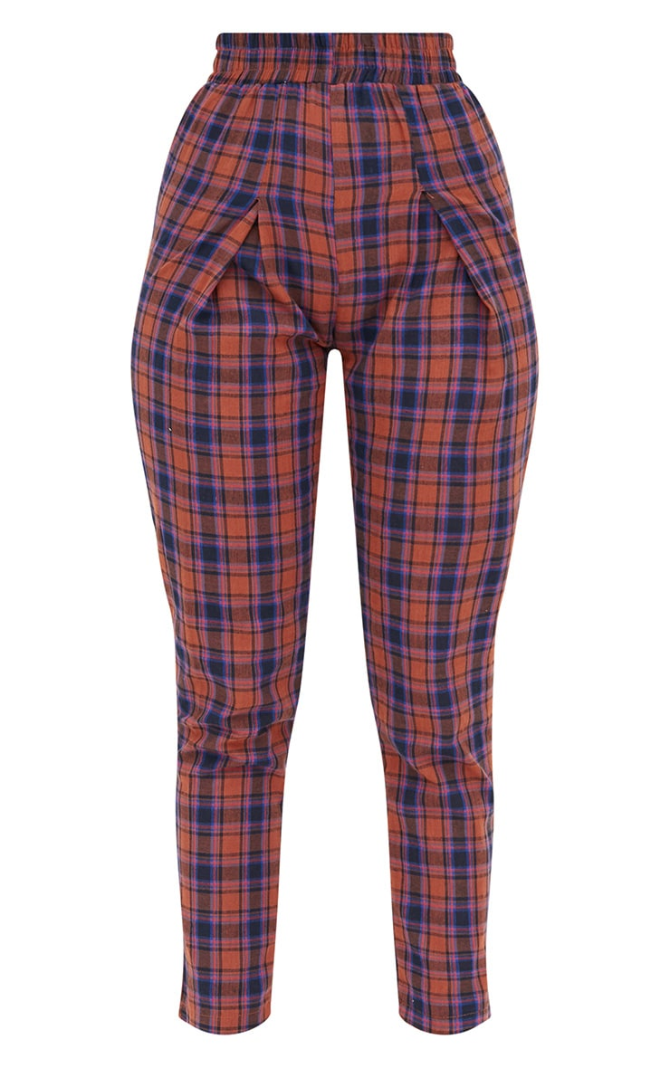 Rust Check Front Pleat Casual Trousers 3