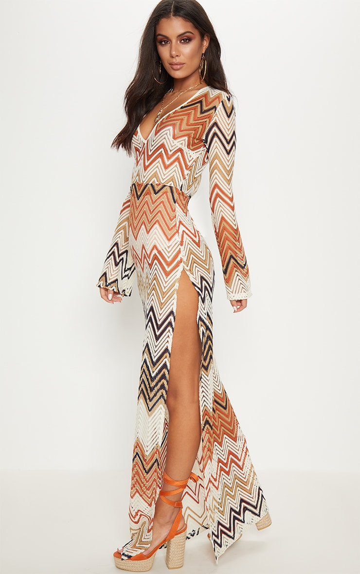 Burnt Orange Chevron Print Lace Maxi Dress 4