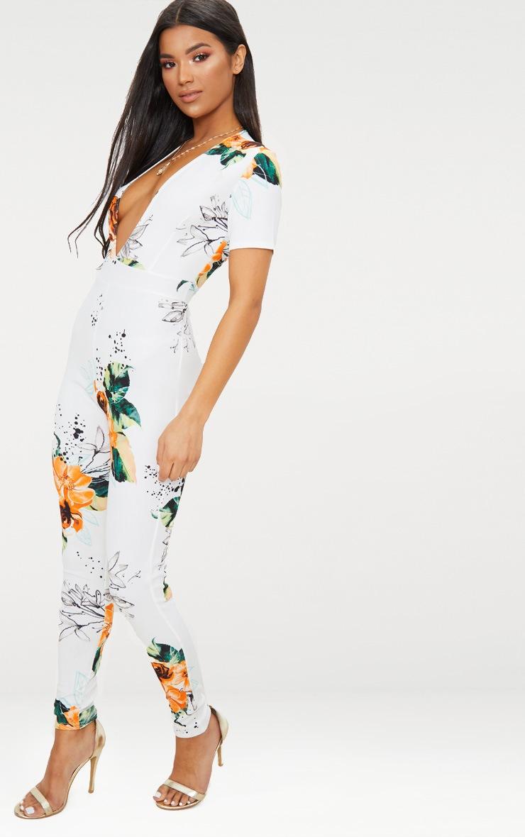 White Floral Plunge Short Sleeve Jumpsuit 3
