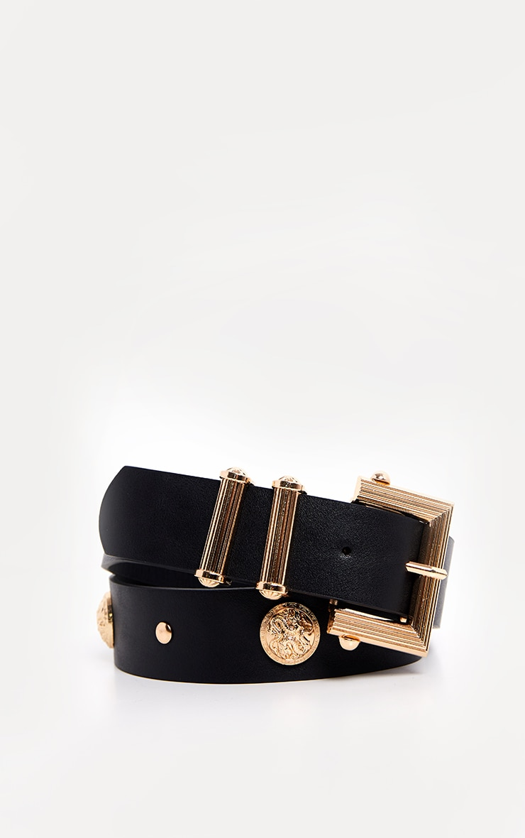 Black Textured Buckle and Stud Detail Belt 1