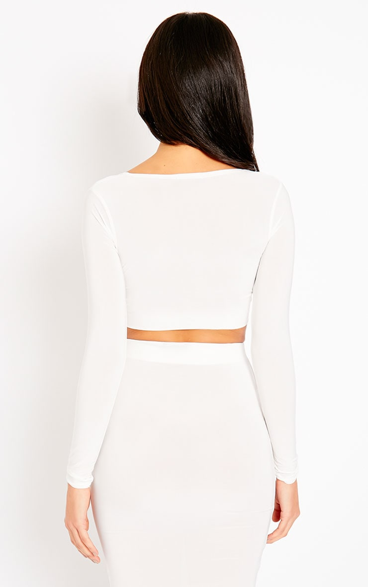 Ava Cream Slinky V-Neck Crop Top 2
