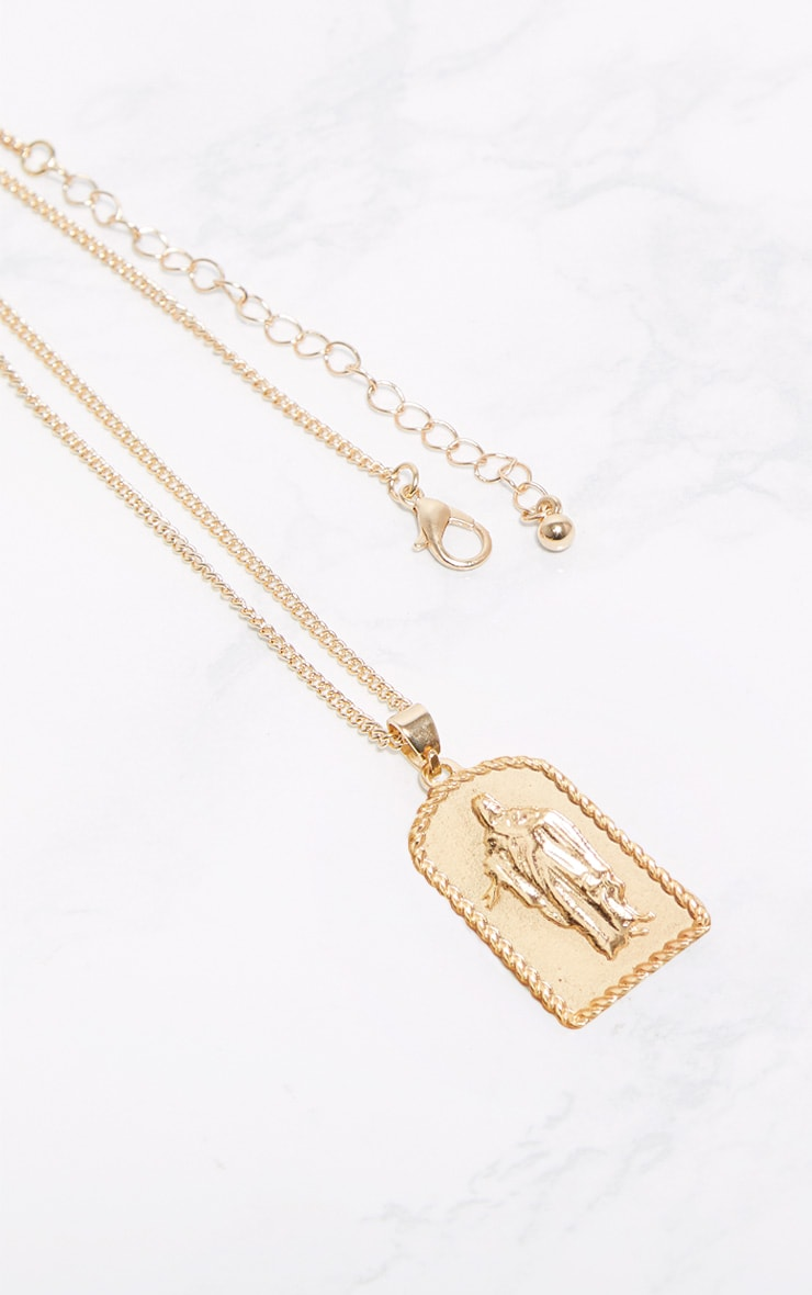 Gold Religious Pendant Thin Chain Necklace 3